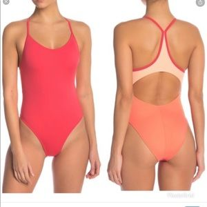 Outdoor Voices Dive Back Coral Swimsuit